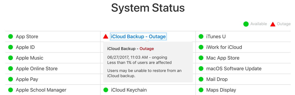 icloud status backups down