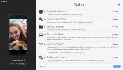 Main configuration screen for iMazing Mini showing top-level options