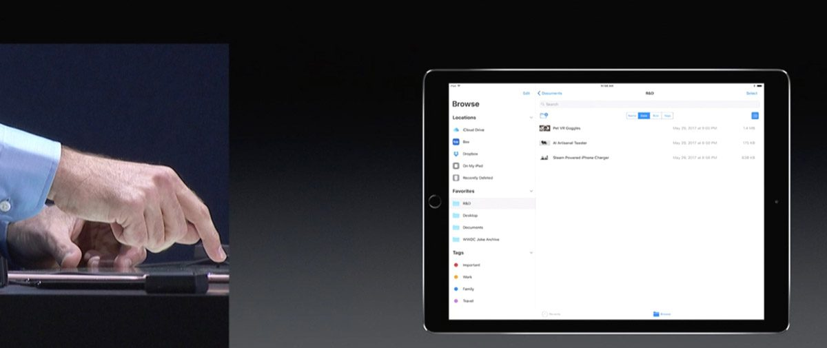 Craig Federighi demos Files app in iOS 11 at WWDC