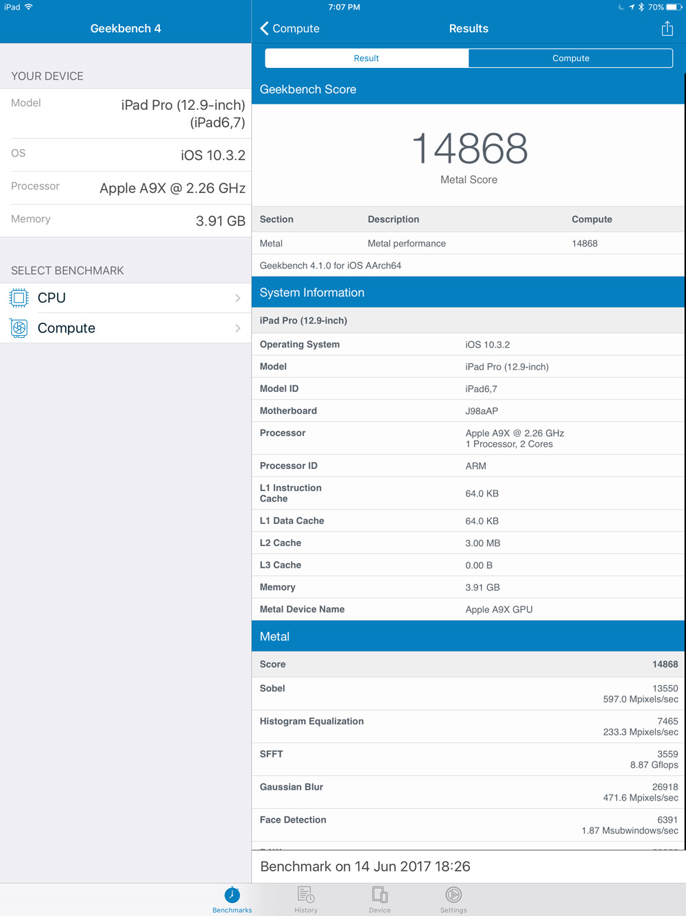 Geekbench 4 metal/video benchmark for iPad Pro 12.9-inch 2017