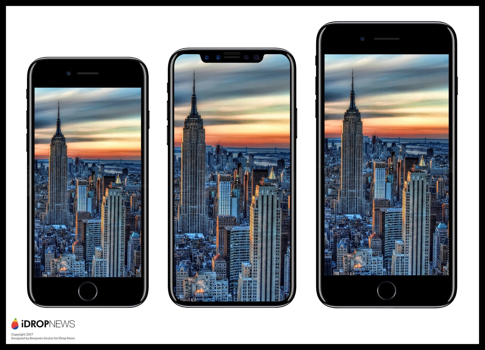 An iPhone 8 mockup from iDrop News, comparing it to the iPhone 7 and 7 Plus.