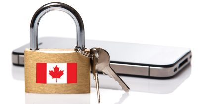 Locked iPhone with Keys and a Canadian flag