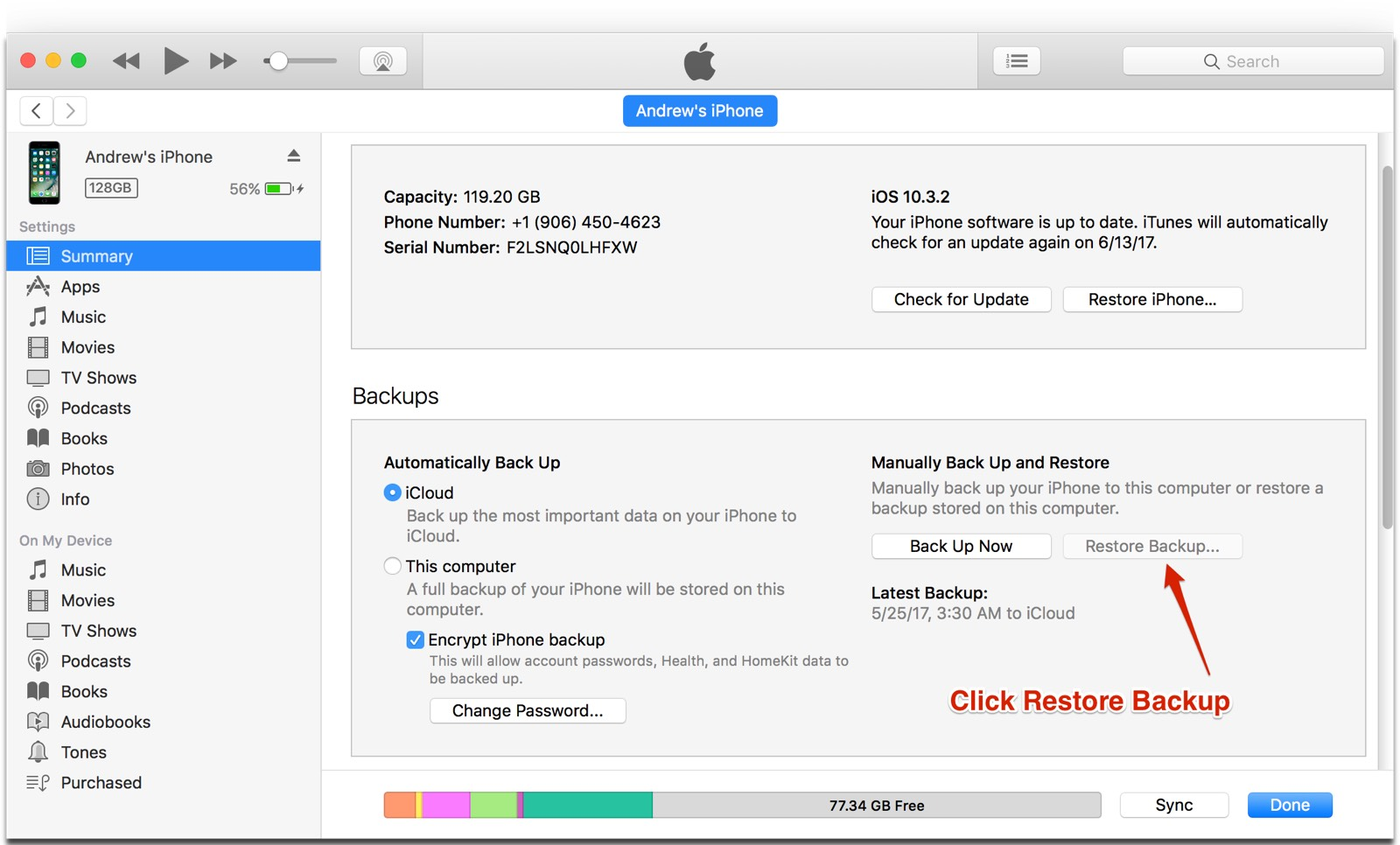 Screenshot of iTunes backup screen. Click on restore backup to downgrade from iOS 11 beta.