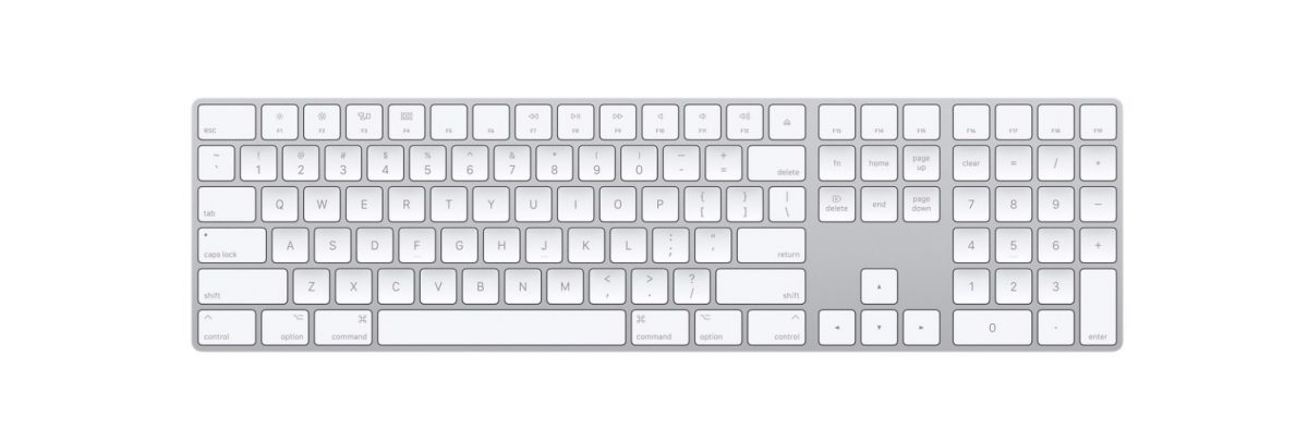 Image of new Apple Bluetooth keyboard with numerical keypad.
