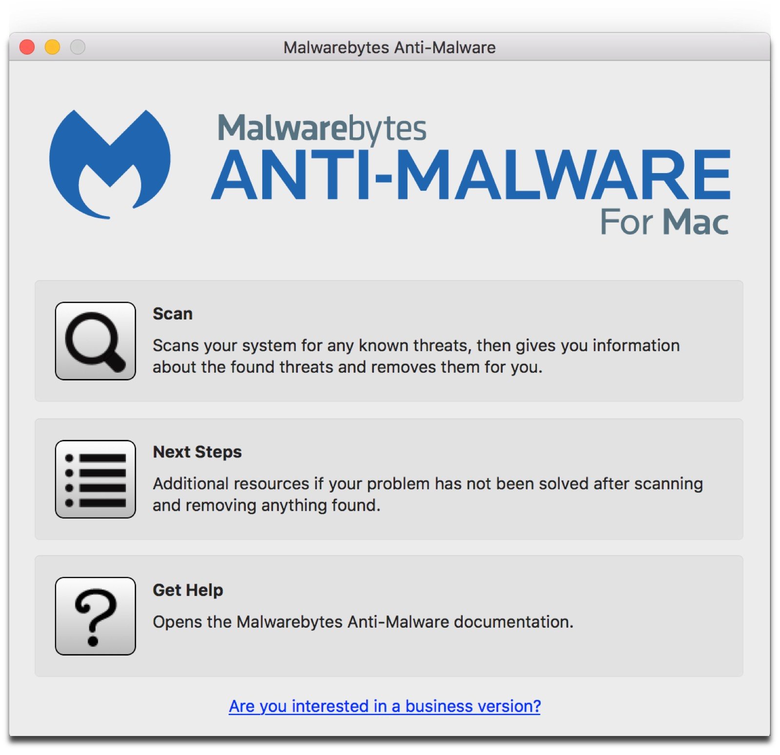 Screenshot of Malwarebytes, one of five Mac security tools we recommend.