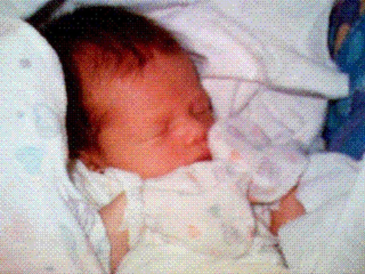 "The first ""Instant-Picture-Mail"" picture shared with 2000 friends and family across the globe: June 11th 1997, Sophie's birth picture"