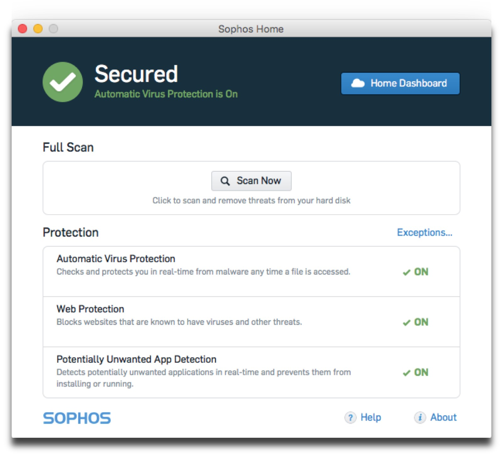 Screenshot of Sophos, one of five Mac security tools we recommend.