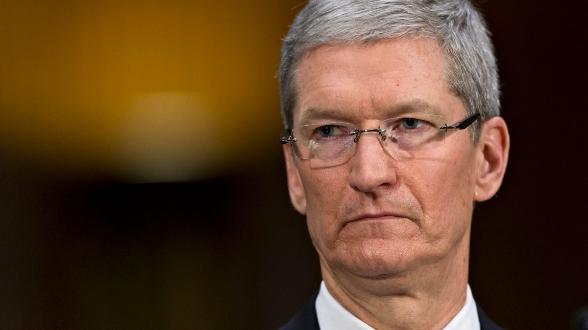 Image of Tim Cook. A leaked Apple memo warns employees to stop leaking information.
