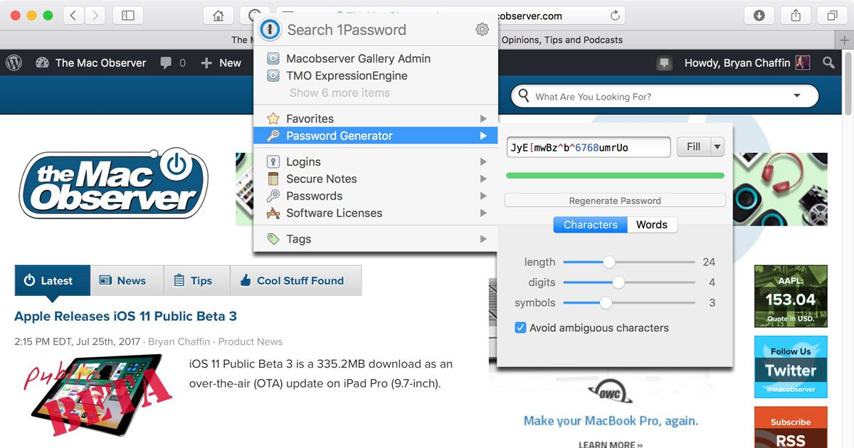 Generating a Password for a Site with 1Password