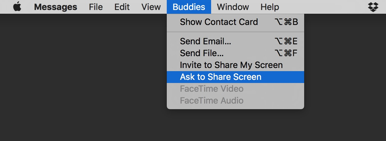 Messages Buddies menu Ask to Share Screen option