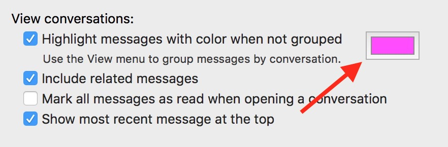 Use the Color Box in Mail's View conversations preference to change message thread highlight color