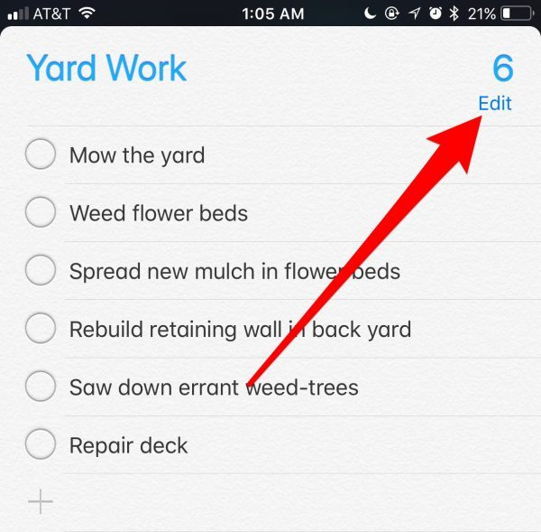Delete all reminders in a list
