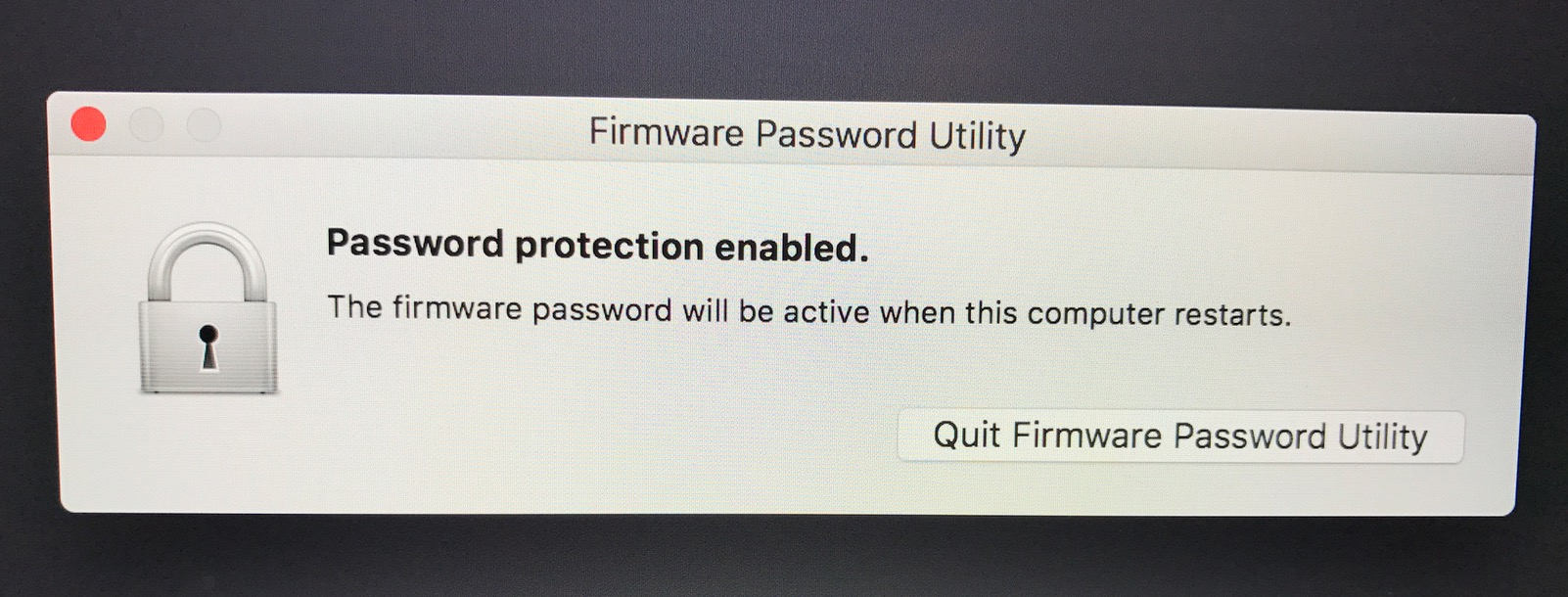 Firmware Password Utility shows password protection Enabled