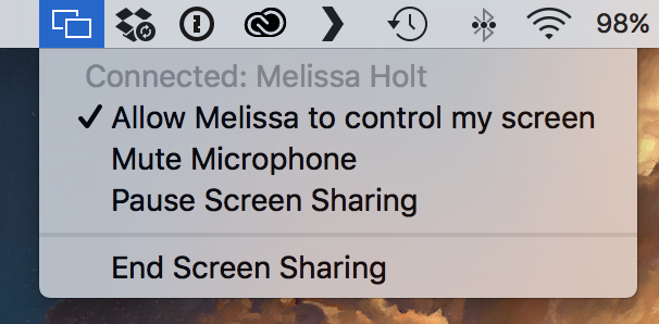 Messages Menu Bar Icon End Screen Sharing option