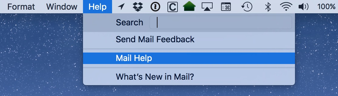 The Help menu is accessible in most all Mac apps