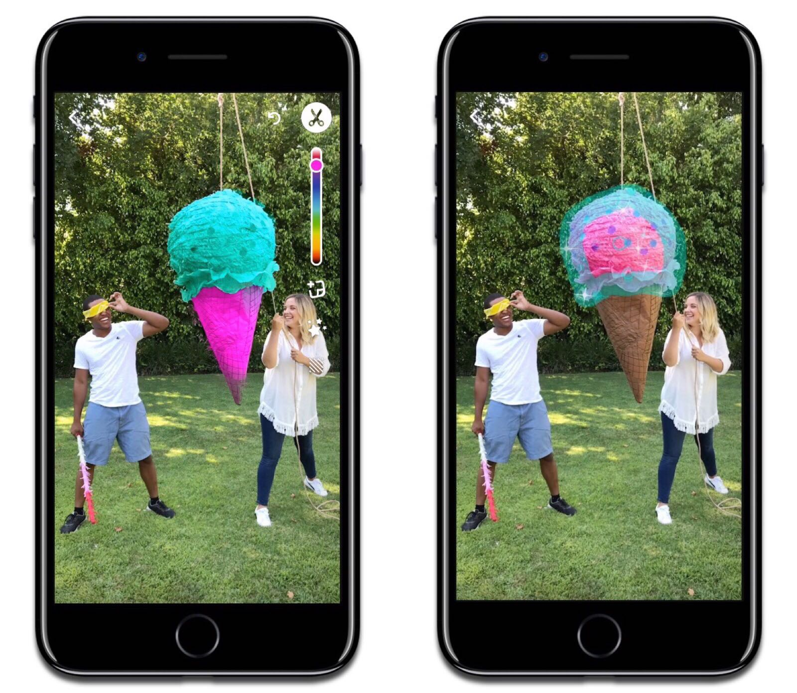 Tint Brush is one of the new Snapchat features that gives you selective color editing. Image credit: TechCrunch.