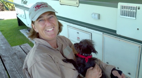 Maria Langer with her dog.