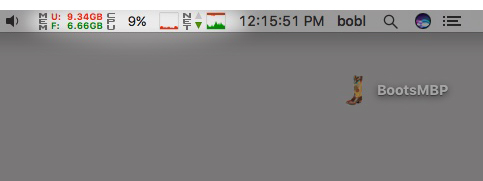 iStat Menus shows me (left to right) Memory used/free; CPU %; CPU history; network activity; and network history, using very little space in my menu bar.