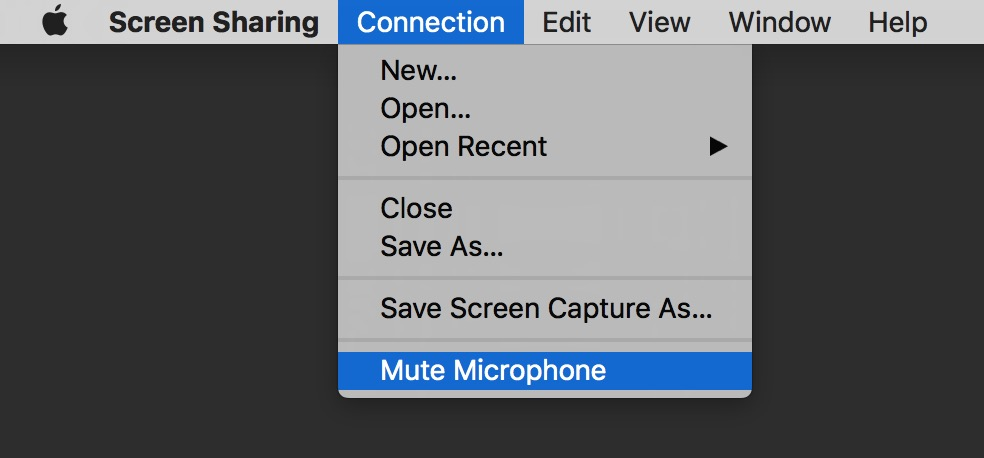 Messages Screen Sharing includes a Mute Microphone option in the Connection menu