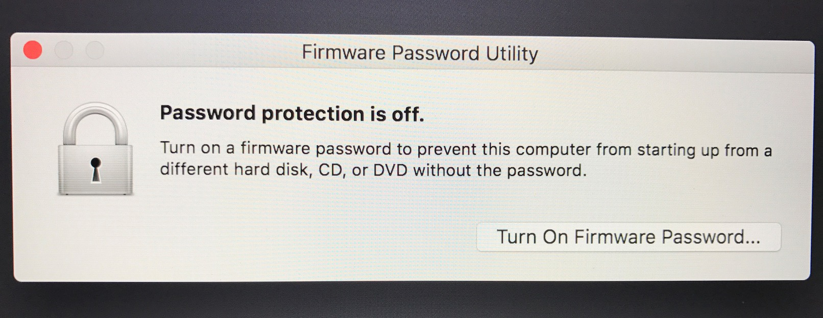 Turn On Firmware Password in the macOS Firmware Password Utility