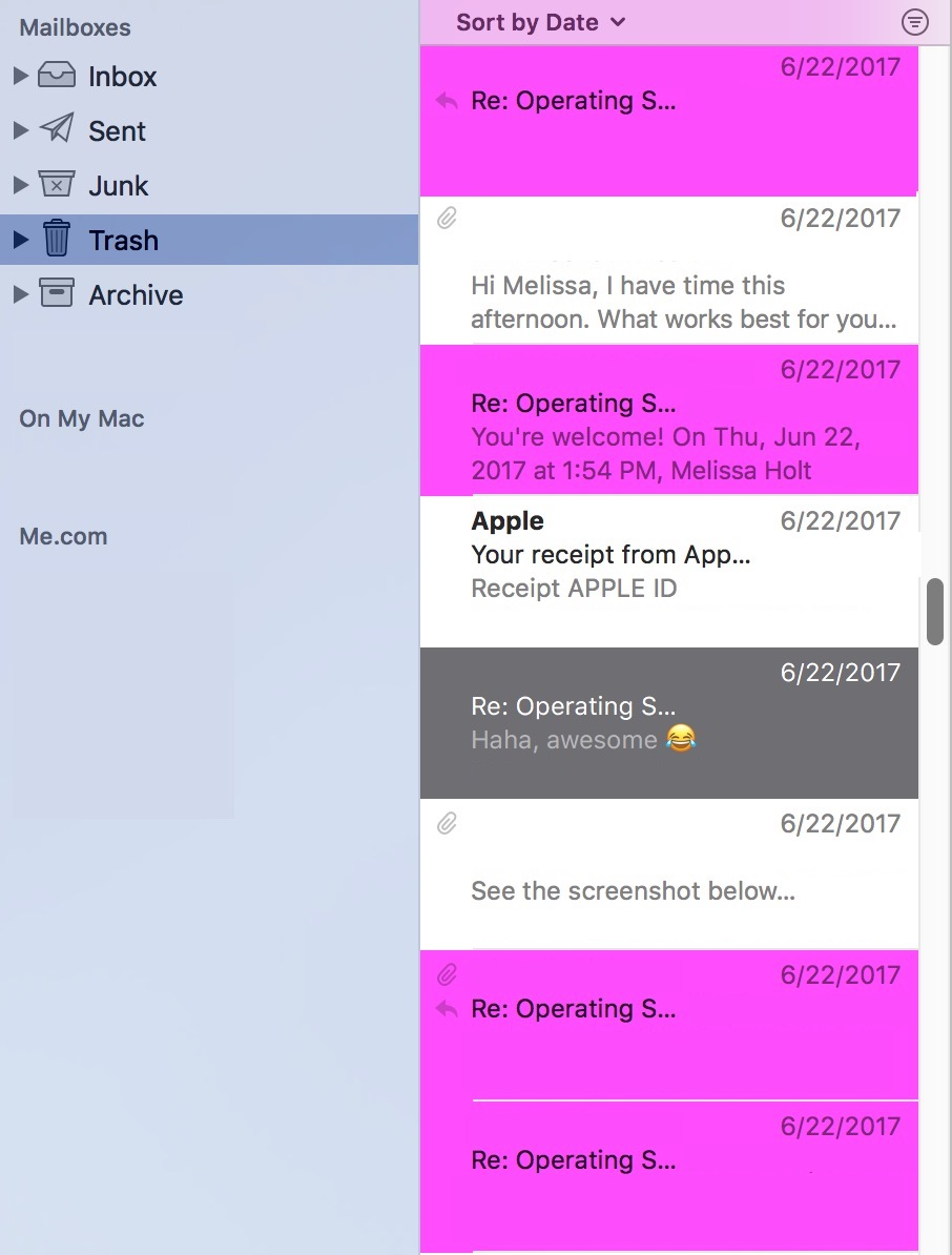 Highlighted Mail Messages thread in PINK