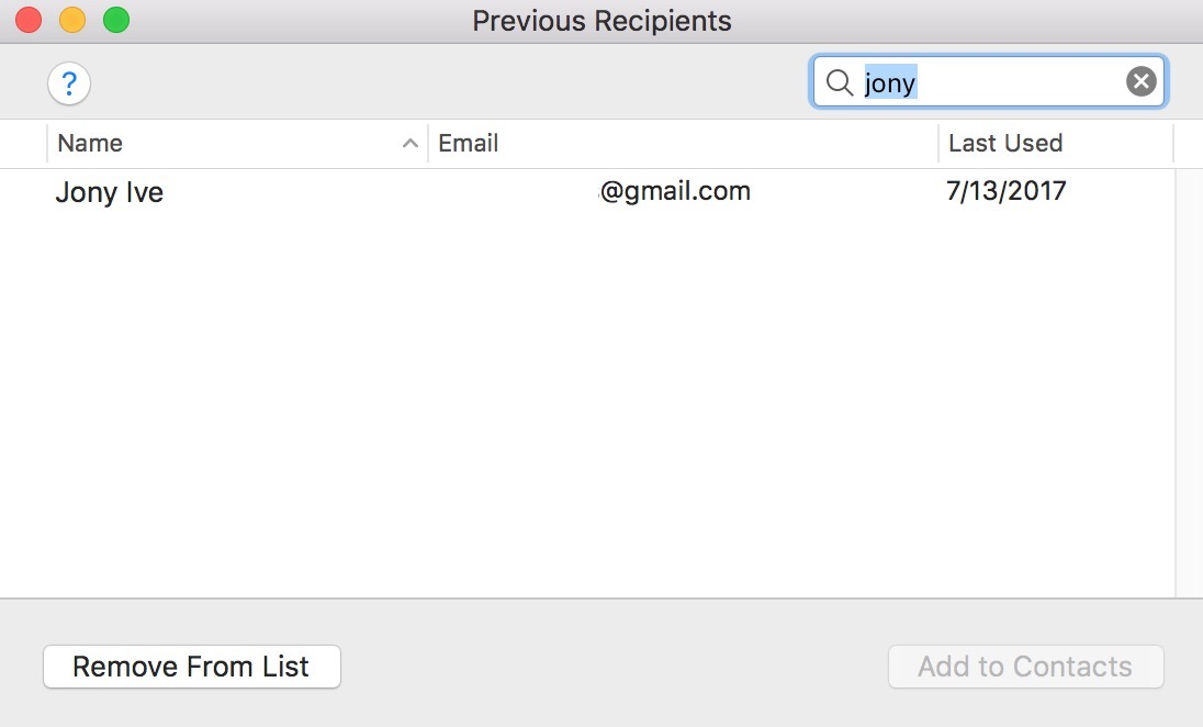 Use Previous Recipients to remove wrong email addresses from Mail