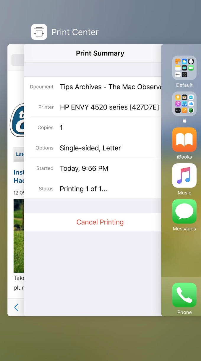 Double click the iPhone or iPad Home button to find Print Center after you start a print job