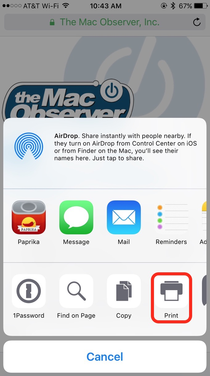 Tap the Print Icon in the iOS sharing pane to choose a printer