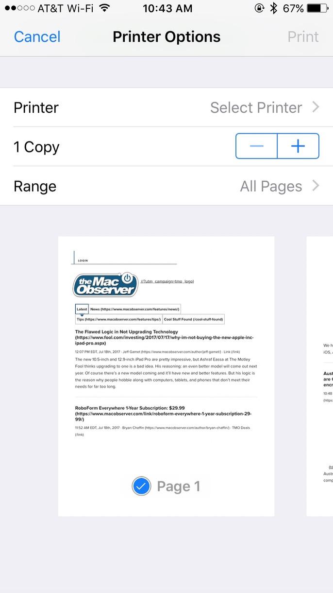 iOS Printer Options