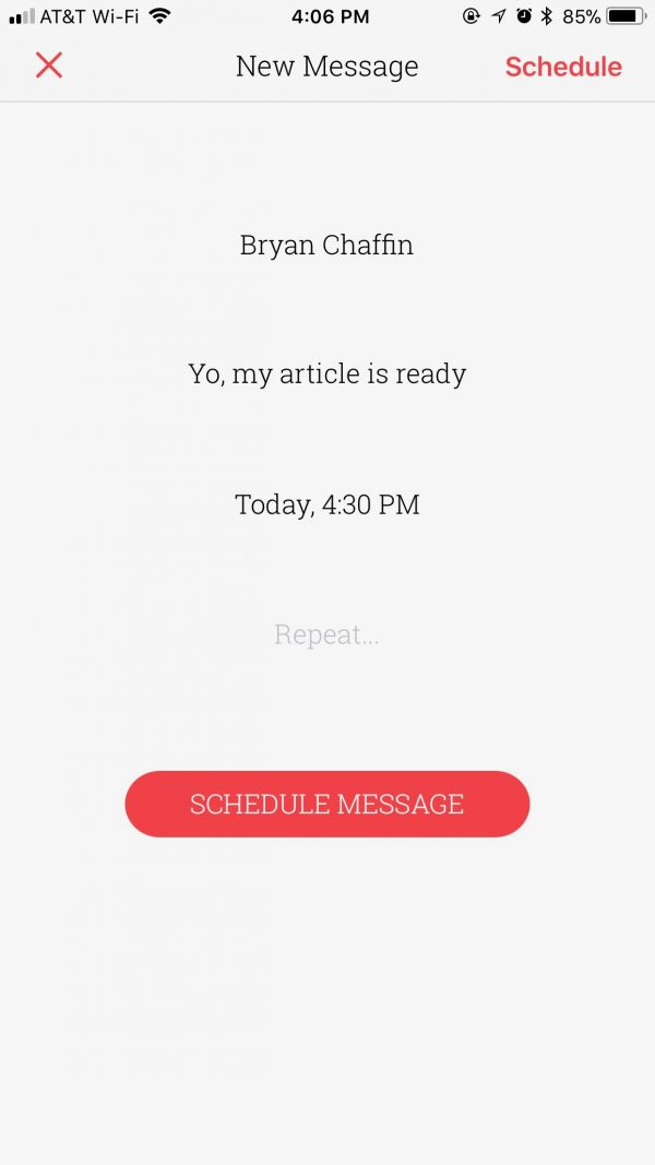 remember to send messages with Scheduled