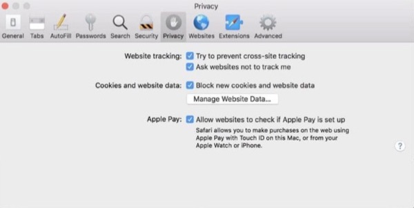 Safari 11 privacy settings