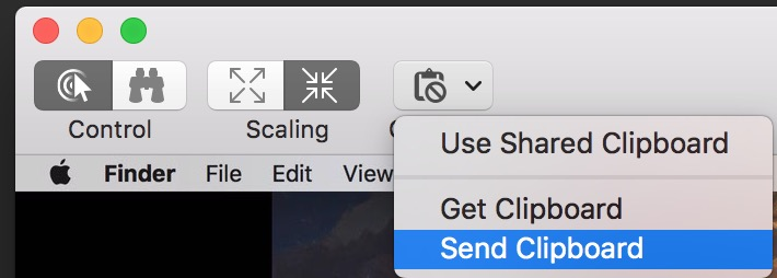 Messages Screen Sharing Send Clipboard option