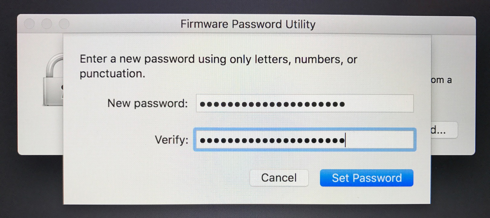 The Mac Firmware Password UtilityEnter Password makes you enter a new password