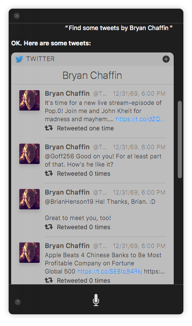 Show me tweets by Bryan Chaffin.
