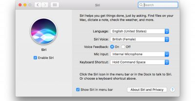 The Siri System Preferences pane.