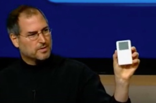 Steve Jobs unveils the first iPod.