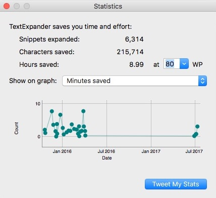 Checking how much time you've saved using TextExpander