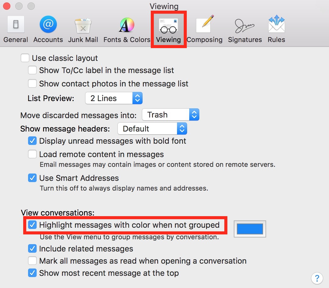 Use Mail's Viewing Tab in Preferences to disable highlighted message coloring