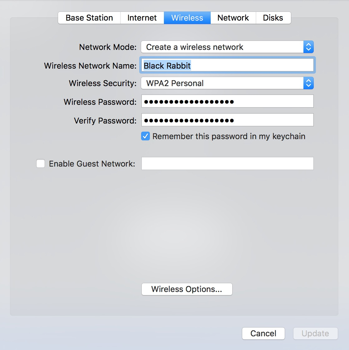Use the Wireless tab in AirPort Utility to change your Basestation password