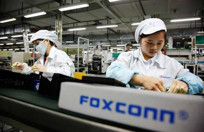 Workers in Apple manufacturing plants built iPhones.