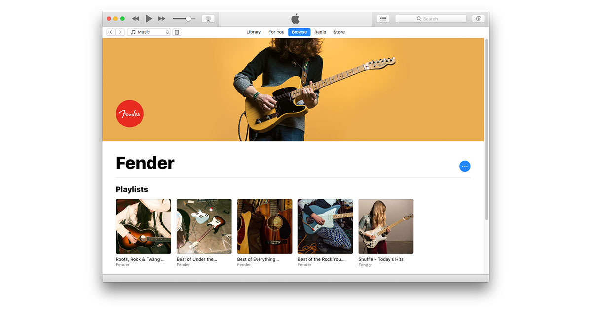 Fender Highlights its Guitars in New Apple Music Playlists