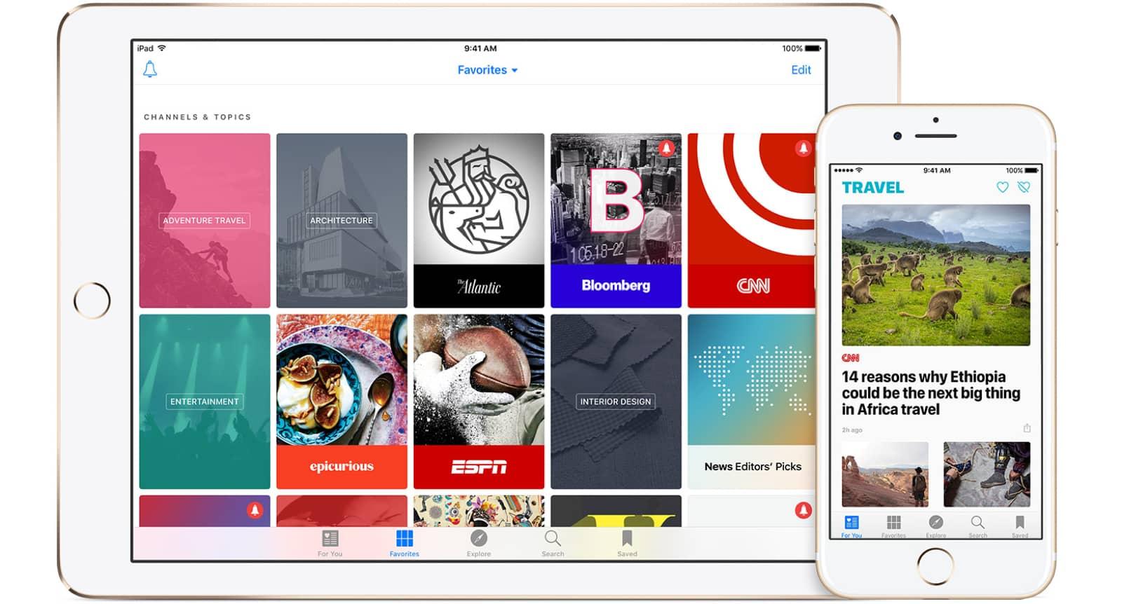 Apple News video on iPad and iPhone.