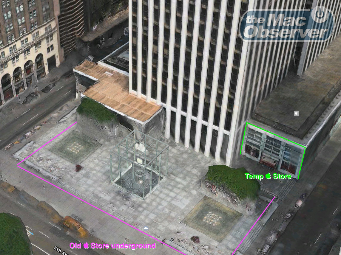 Apple Maps satellite view of Apple 5th Ave — annotated for context