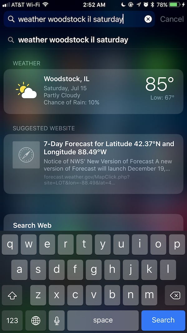 Checking the weather using Spotlight