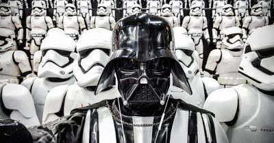 Darth Vader enjoys his Apple Earpods