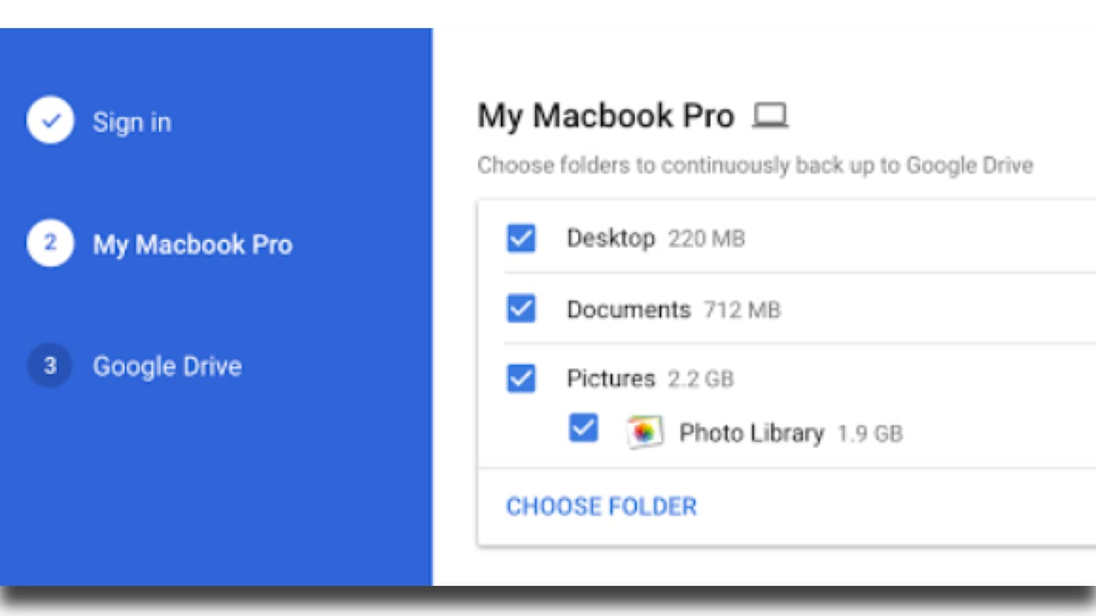 Back up desktop, documents, and photos in Google sync app.