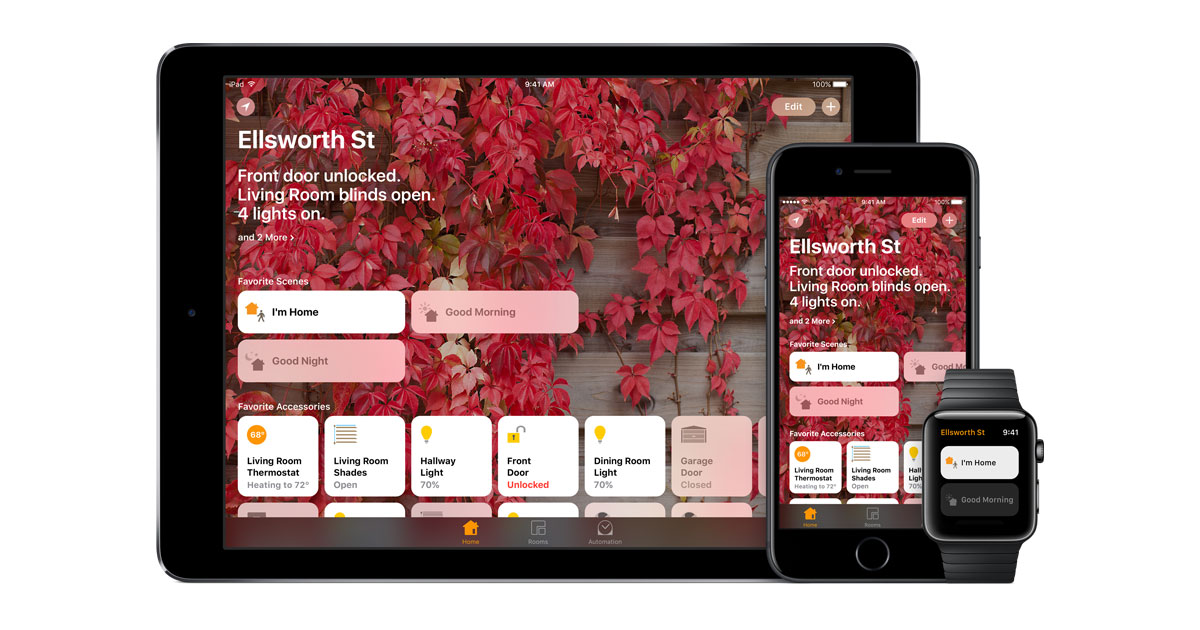 iPhone, iPad, Apple Watch HomeKit smart home control