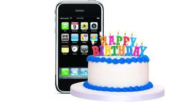 original iPhone and birthday cake for 10th anniversary