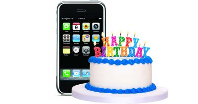original iPhone and birthday cake for 10th anniversary