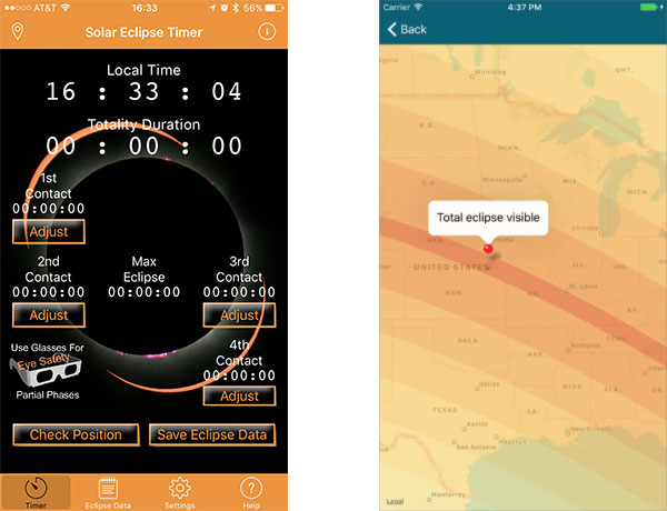 Solar Eclipse Timer and Solar Eclipse 2017 apps for the iPhone